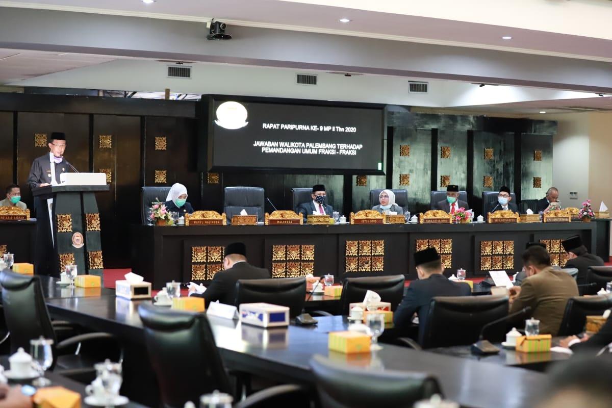 DPRD Rapat Paripurna Jawaban Waliokota Palembang Terhadap Pandangan Umum Fraksi